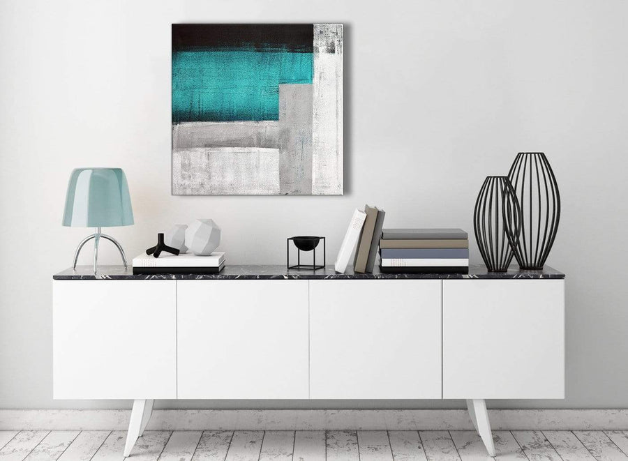 Contemporary Teal Turquoise Grey Painting Living Room Canvas Wall Art Decor - Abstract 1s429m - 64cm Square Print