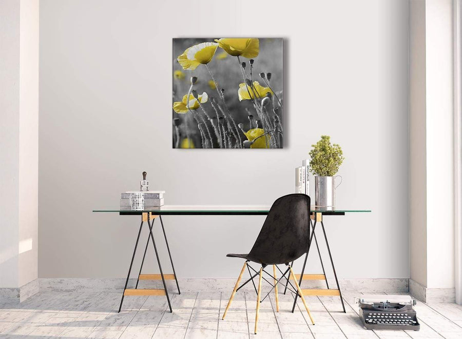 Contemporary Yellow Grey Poppy Flower - Poppies Floral Canvas Hallway Canvas Pictures Decorations - Abstract 1s258m - 64cm Square Print