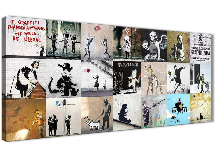Banksy Graffiti Collage Canvas Wall Art Modern 120cm Wide - 1356