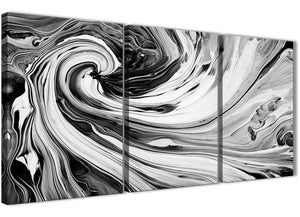 Oversized Black White Grey Swirls Modern Abstract Canvas Wall Art Split 3 Part 125cm Wide 3354 For Your Kitchen