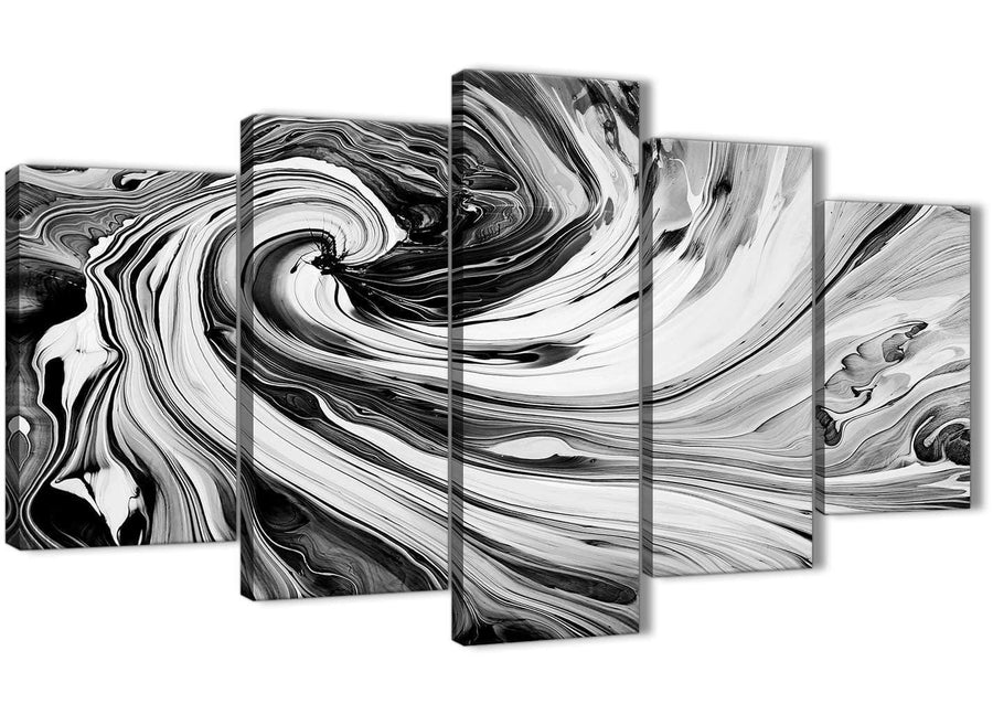 Oversized Extra Large Black White Grey Swirls Modern Abstract Canvas Wall Art Split 5 Piece 160cm Wide 5354 For Your Kitchen