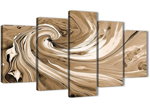 Oversized Extra Large Brown Cream Swirls Modern Abstract Canvas Wall Art Split 5 Panel 160cm Wide 5349 For Your Kitchen