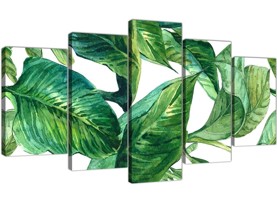 Oversized Extra Large Green Palm Tropical Banana Leaves Canvas Split 5 Panel 5324 For Your Dining Room