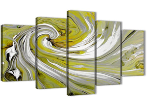 Oversized Extra Large Lime Green Swirls Modern Abstract Canvas Wall Art Multi 5 Panel 160cm Wide 5351 For Your Living Room