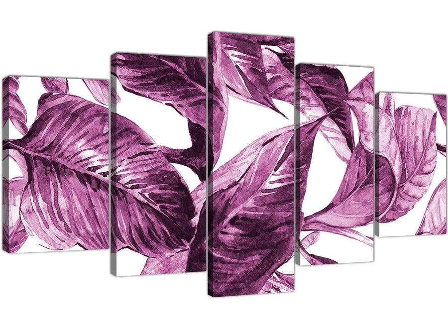 Oversized Extra Large Plum Aubergine White Tropical Leaves Canvas Multi 5 Set 5319 For Your Living Room