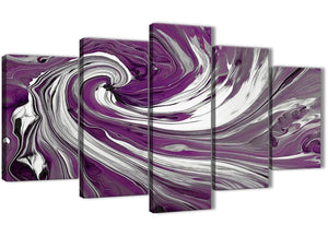 Oversized Extra Large Plum Purple White Swirls Modern Abstract Canvas Wall Art Split 5 Panel 160cm Wide 5353 For Your Living Room