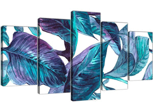 Oversized Extra Large Turquoise And White Tropical Leaves Canvas Split Set Of 5 5323 For Your Kitchen