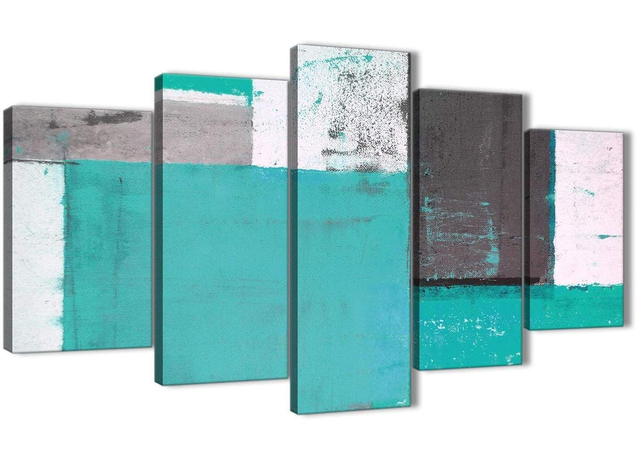 Oversized Extra Large Turquoise Grey Abstract Painting Canvas Wall Art Multi 5 Set 160cm Wide 5345 For Your Living Room