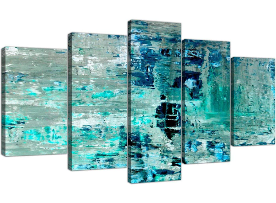 Oversized Extra Large Turquoise Teal Abstract Painting Wall Art Print Canvas Split Set Of 5 5333 For Your Living Room