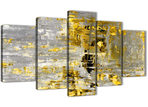 Oversized Extra Large Yellow Abstract Painting Wall Art Print Canvas Split 5 Panel 160cm Wide 5357 For Your Dining Room