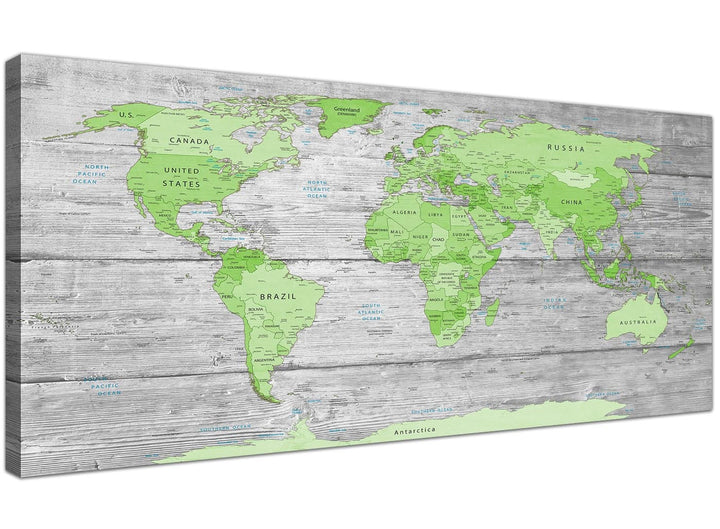 Oversized Green Grey Large Lime Green Grey World Map Atlas Canvas Wall Art Print Maps Canvas Modern 120cm Wide 1301 For Your Study