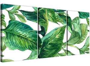 Oversized Green Palm Tropical Banana Leaves Canvas Split Triptych 3324 For Your Kitchen