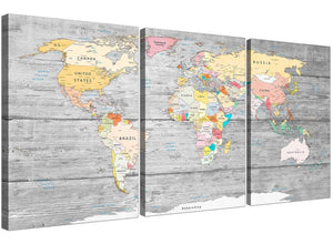Oversized Grey Large Map Of World Canvas Art Print Colourful Light Grey Maps Canvas Multi 3 Panel 3306 For Your Office