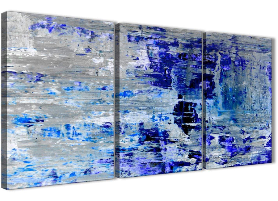 Oversized Indigo Blue Grey Abstract Painting Wall Art Print Canvas Split Set Of 3 125cm Wide 3358 For Your Living Room