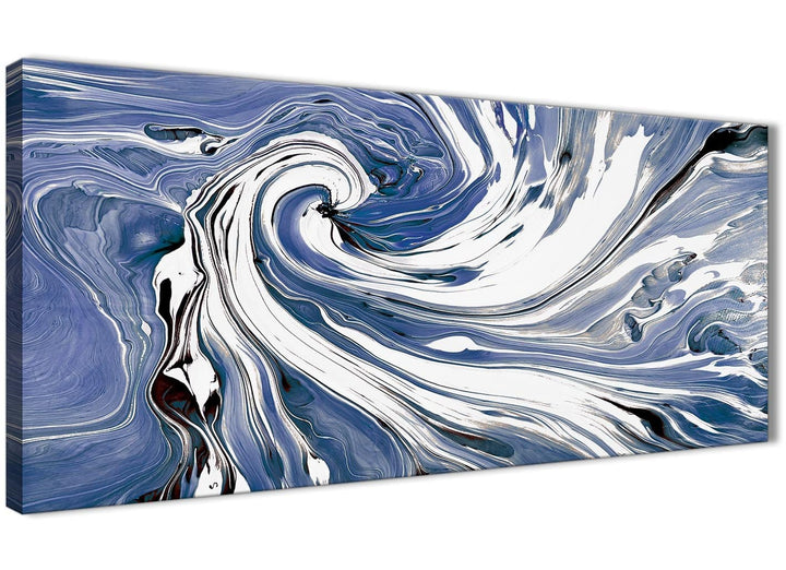 Oversized Indigo Blue White Swirls Modern Abstract Canvas Wall Art Modern 120cm Wide 1352 For Your Bedroom