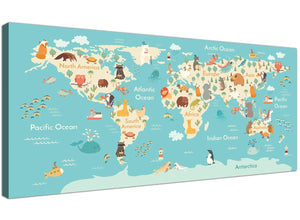 Childrens Animal Atlas Map for Bedroom in blue and yellow