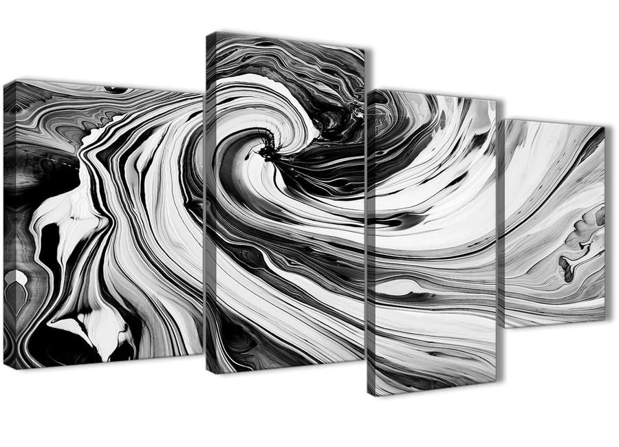 Oversized Large Black White Grey Swirls Modern Abstract Canvas Wall Art Split 4 Piece 130cm Wide 4354 For Your Kitchen