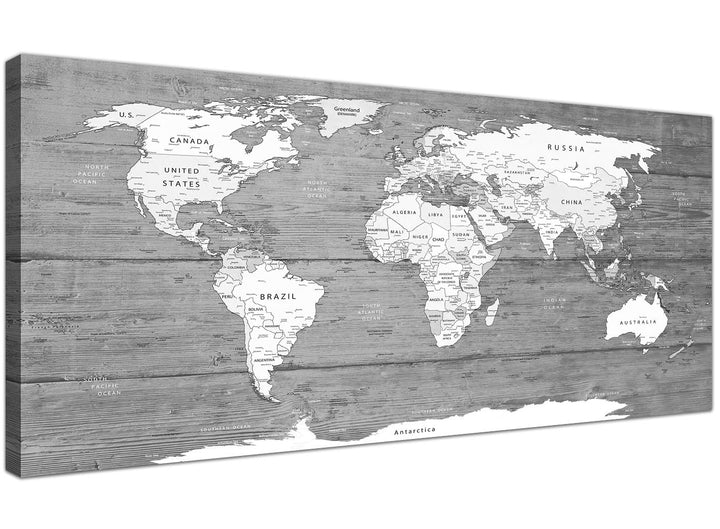 Oversized Large Black White Map Of World Atlas Canvas Wall Art PrintModern 120cm Wide 1315 For Your Living Room