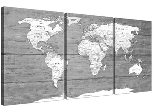 Oversized Large Black White Map Of World Atlas Canvas Wall Art Print Multi 3 Panel 3315 For Your Office