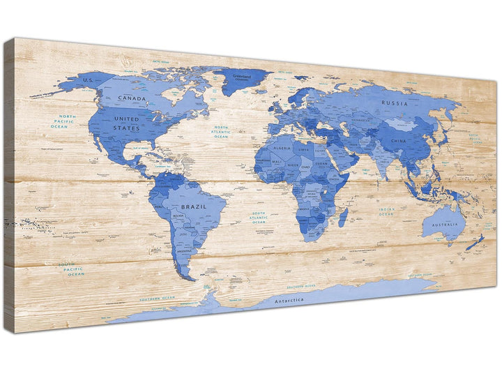 Oversized Large Blue Cream Map Of World Atlas Canvas Modern 120cm Wide 1308 For Your Office