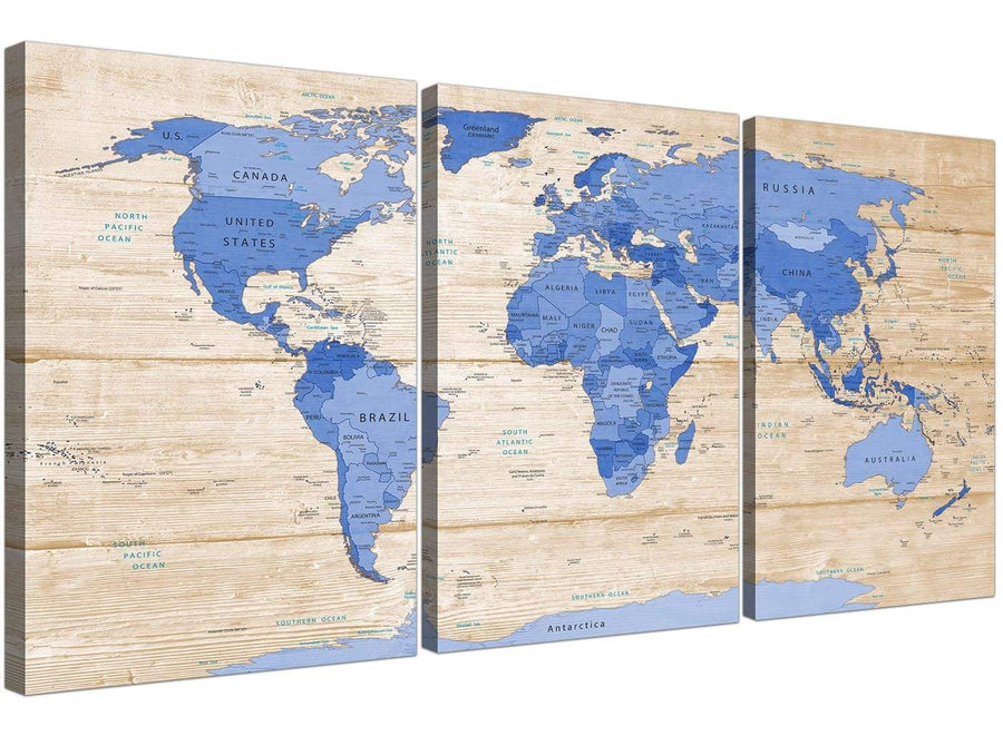 Oversized Large Blue Cream Map Of World Atlas Canvas Multi 3 Piece 3308 For Your Boys Bedroom