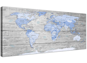 Oversized Large Blue Grey Map Of World Atlas Maps Canvas Modern 120cm Wide 1303 For Your Study