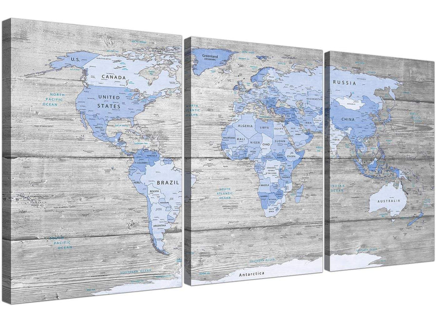 Oversized Large Blue Grey Map Of World Atlas Maps Canvas Multi 3 Set 3303 For Your Living Room