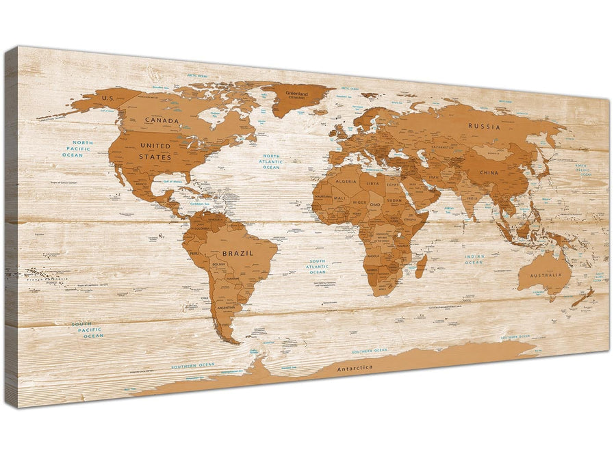 Oversized Large Brown Cream Map Of World Atlas Canvas Modern 120cm Wide 1307 For Your Dining Room