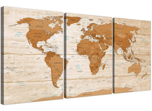 Oversized Large Brown Cream Map Of World Atlas Canvas Multi 3 Set 3307 For Your Office