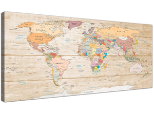 Oversized Large Cream Map Of The World Atlas Picture Canvas Modern 120cm Wide 1314 For Your Office