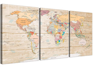 Oversized Large Cream Map Of The World Atlas Picture Canvas Split 3 Panel 3314 For Your Kitchen