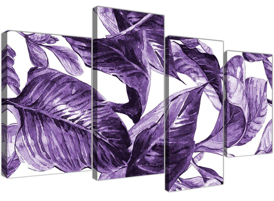 Oversized Large Dark Purple White Tropical Exotic Leaves Canvas Split 4 Piece 4322 For Your Bedroom