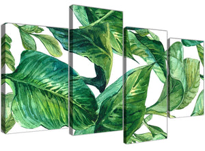 Oversized Large Green Palm Tropical Banana Leaves Canvas Split 4 Part 4324 For Your Kitchen