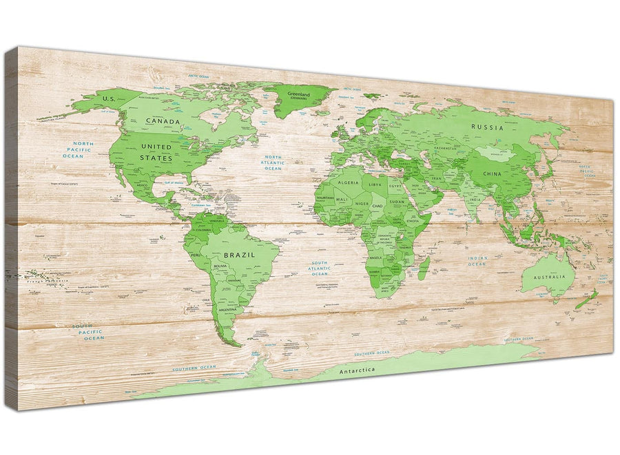 Oversized Large Lime Green Cream World Map Atlas Canvas Modern 120cm Wide 1310 For Your Dining Room