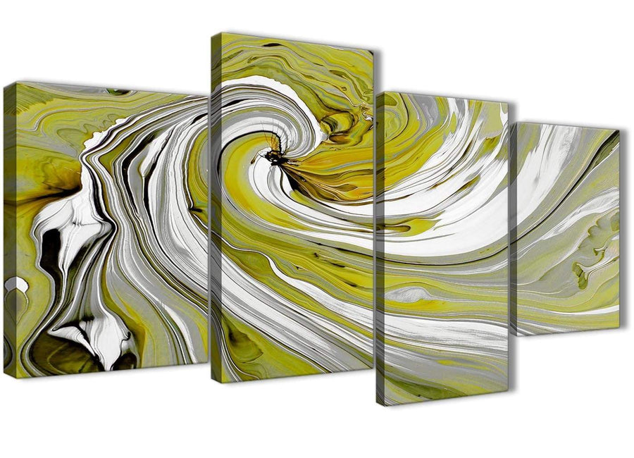 Oversized Large Lime Green Swirls Modern Abstract Canvas Wall Art Multi 4 Panel 130cm Wide 4351 For Your Living Room