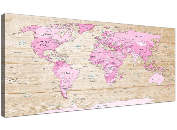 Oversized Large Pink Cream Map Of World Atlas Canvas Modern 120cm Wide 1309 For Your Teenage Girls Bedroom