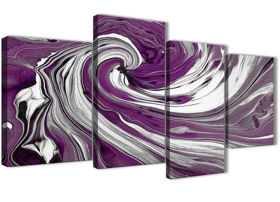 Oversized Large Plum Purple White Swirls Modern Abstract Canvas Wall Art Split 4 Panel 130cm Wide 4353 For Your Dining Room
