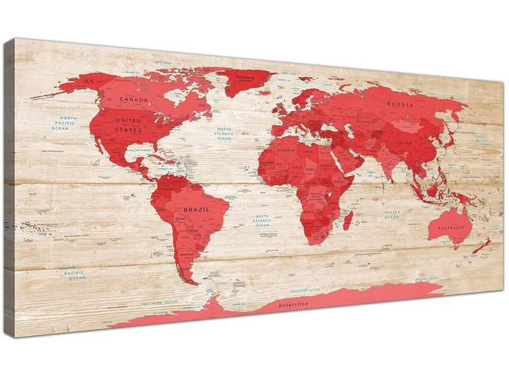 Oversized Large Red Cream Map Of World Atlas Canvas Modern 120cm Wide 1311 For Your Office