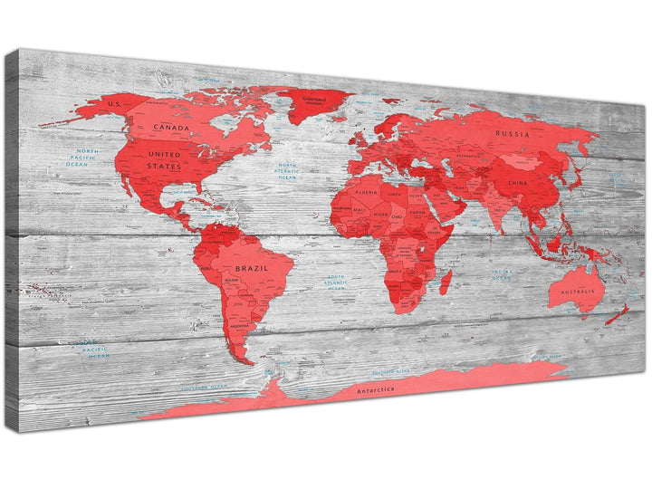 Oversized Large Red Grey Map Of The World Atlas Canvas Wall Art Print Modern 120cm Wide 1300 For Your Office