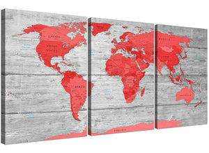 Oversized Large Red Grey Map Of The World Atlas Canvas Wall Art Print Multi 3 Set 3300 For Your Office