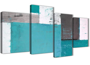 Oversized Large Teal Grey Abstract Painting Canvas Wall Art Split 4 Panel 130cm Wide 4344 For Your Hallway