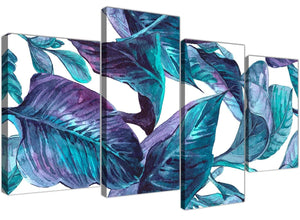 Oversized Large Turquoise And White Tropical Leaves Canvas Split 4 Set 4323 For Your Living Room