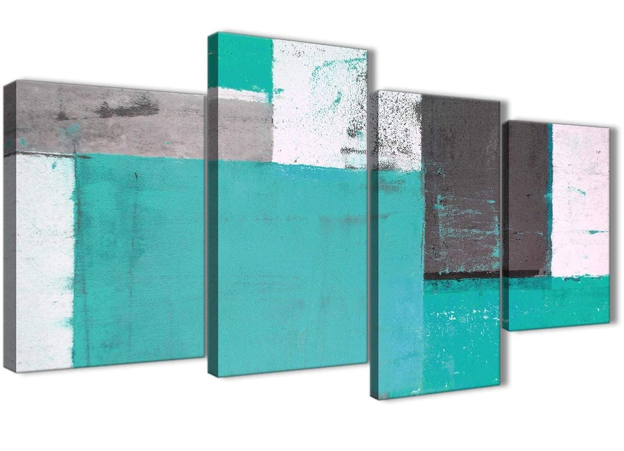 Oversized Large Turquoise Grey Abstract Painting Canvas Wall Art Multi 4 Part 130cm Wide 4345 For Your Living Room