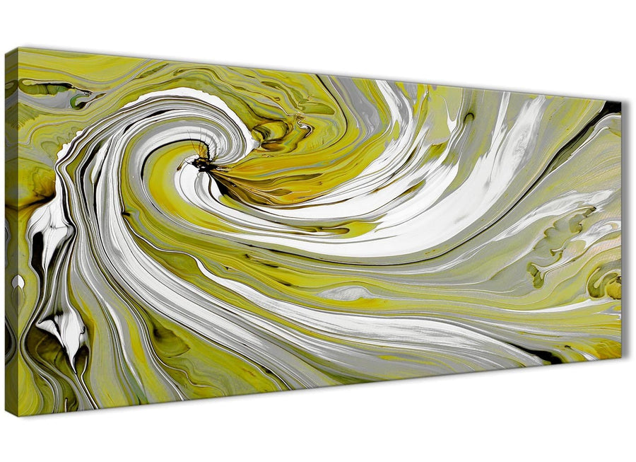 Oversized Lime Green Swirls Modern Abstract Canvas Wall Art Modern 120cm Wide 1351 For Your Kitchen