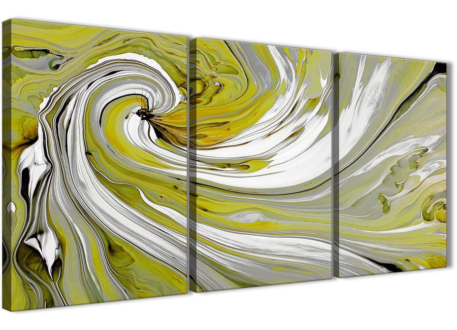 Oversized Lime Green Swirls Modern Abstract Canvas Wall Art Multi Set Of 3 125cm Wide 3351 For Your Living Room