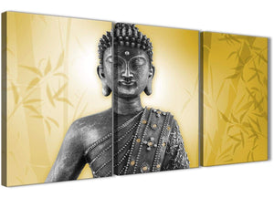 Oversized Mustard Yellow And Grey Silver Wall Art Print Of Buddha Canvas Multi 3 Panel 3328 For Your Living Room