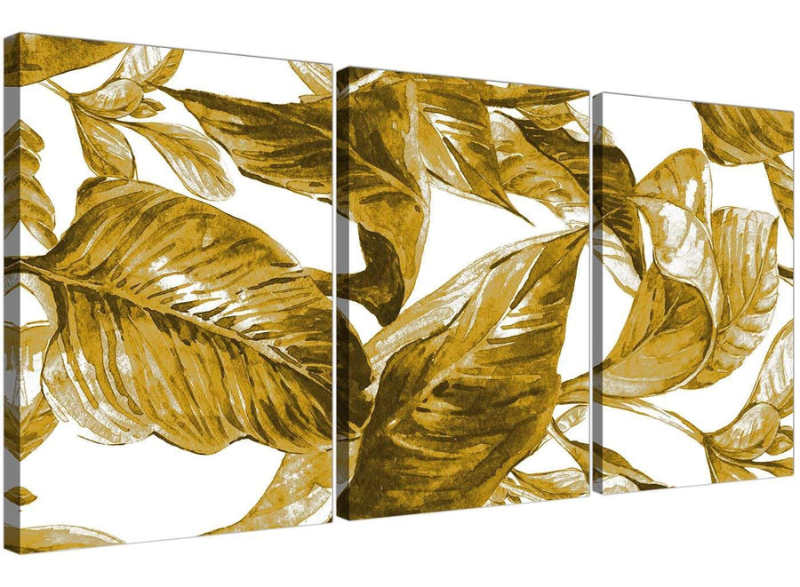 Oversized Mustard Yellow White Tropical Leaves Canvas Split 3 Panel 3318 For Your Living Room
