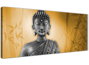 Oversized Orange And Grey Silver Wall Art Prints Of Buddha Canvas Modern 120cm Wide 1329 For Your Hallway