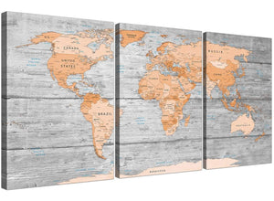Oversized Orange Cream Large Orange Grey Map Of World Atlas Canvas Wall Art Print Maps Canvas Multi Triptych 3304 For Your Boys Bedroom