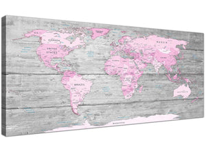 Oversized Pink Grey Large Pink Grey Map Of World Atlas Canvas Wall Art Print – Maps Canvas Modern 120cm Wide 1302 For Your Study